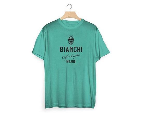 Bianchi Tričko  Café and Cycles celeste